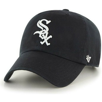 47 Brand Curved Brim Chicago White Sox MLB Clean Up Black Cap
