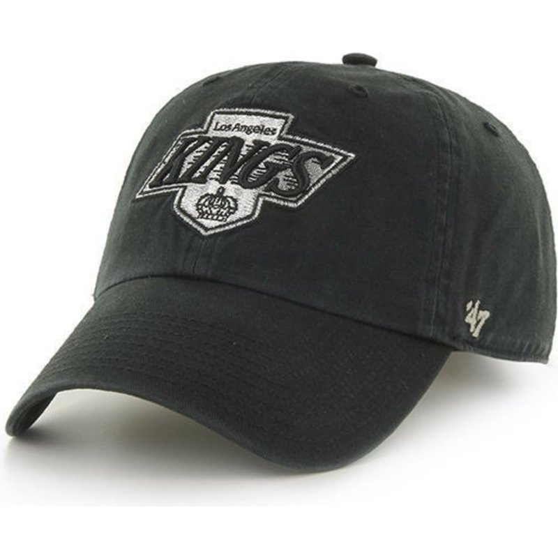47-brand-curved-brim-old-logo-los-angeles-kings-nhl-clean-up-black-cap