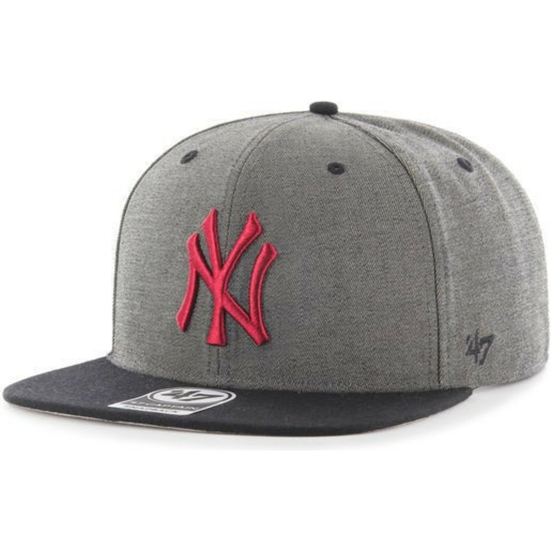 47-brand-flat-brim-new-york-yankees-red-logo-mlb-double-move-captain-grey-snapback-cap