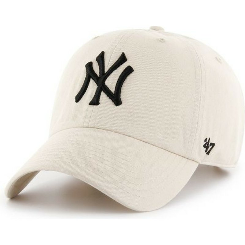 47-brand-curved-brim-new-york-yankees-mlb-clean-up-cream-cap
