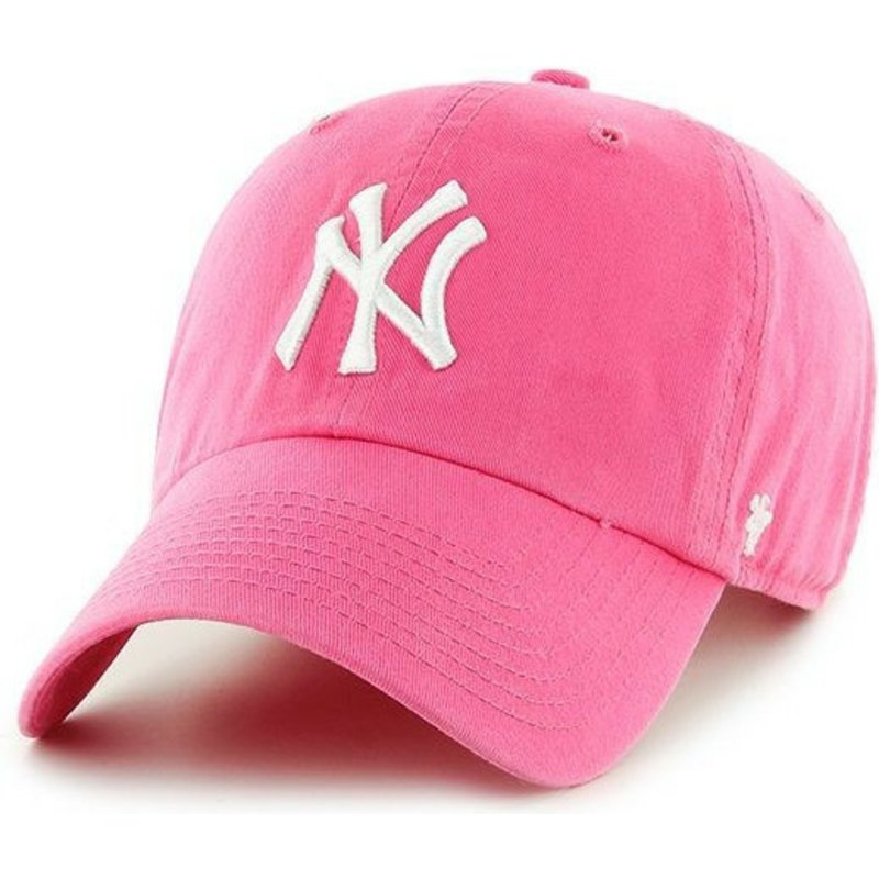47-brand-curved-brim-new-york-yankees-mlb-clean-up-pink-cap