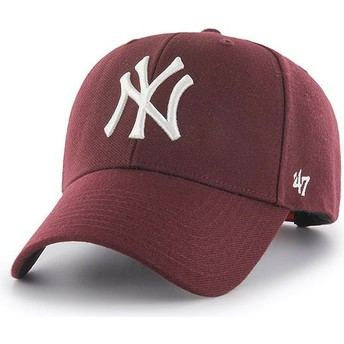 47 Brand Curved Brim Maroon New York Yankees MLB MVP Red Snapback Cap