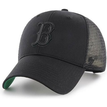 47 Brand Black Logo Boston Red Sox MLB MVP Branson Black Trucker Hat