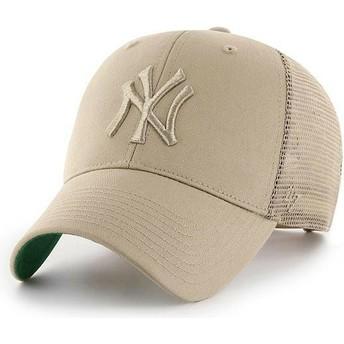 47 Brand Beige Logo New York Yankees MLB MVP Branson Beige Trucker Hat