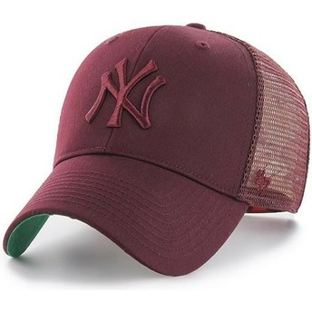 47 Brand Maroon Logo New York Yankees MLB MVP Branson Maroon Trucker Hat