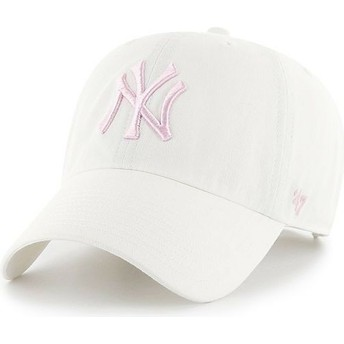 47 Brand Curved Brim Pink Logo New York Yankees MLB Clean Up White Cap