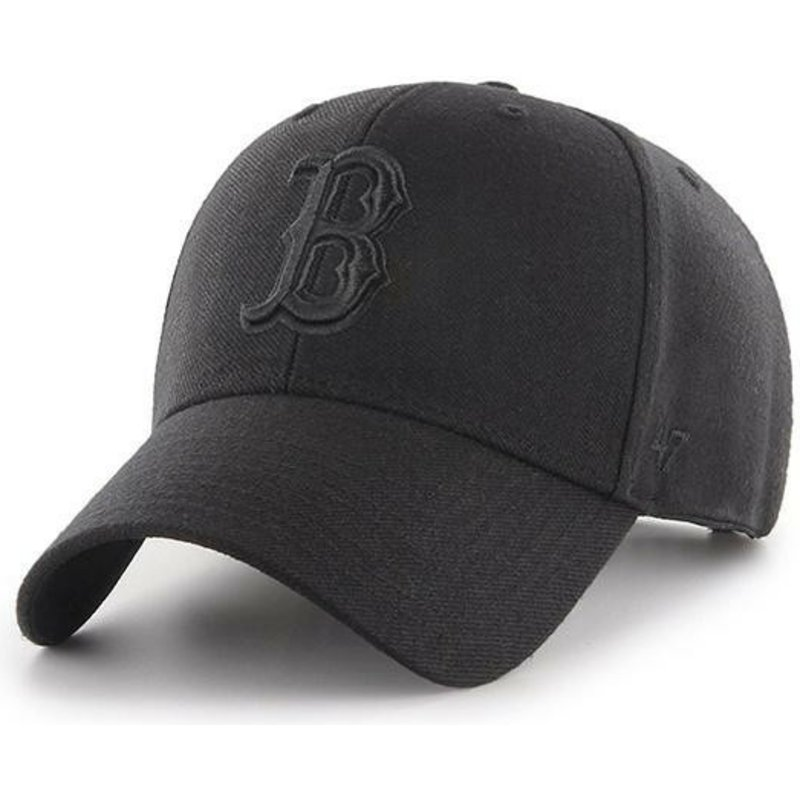 47-brand-curved-brim-black-logo-boston-red-sox-mlb-mvp-black-snapback-cap