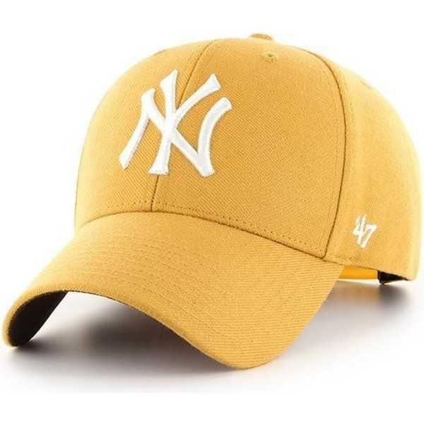 47-brand-curved-brim-new-york-yankees-mlb-mvp-yellow-snapback-cap