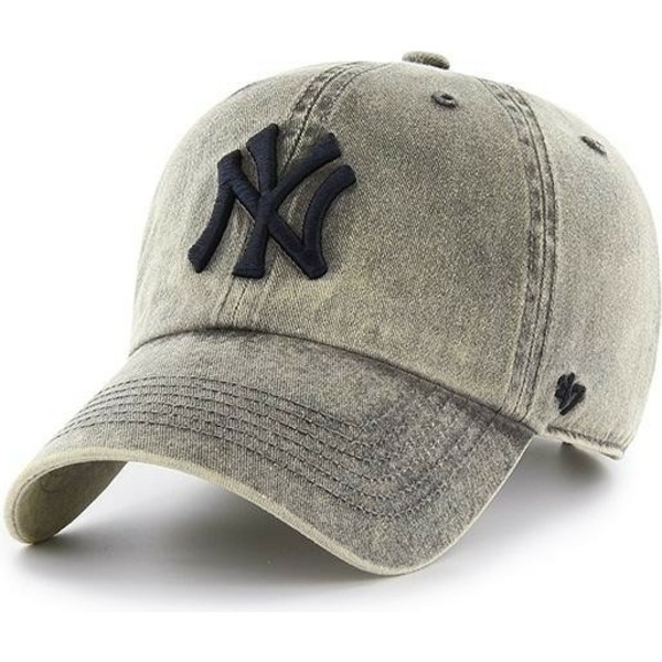 47-brand-curved-brim-new-york-yankees-mlb-clean-up-cement-grey-cap