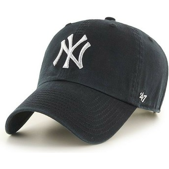47 Brand Curved Brim Silver Logo New York Yankees MLB Clean Up Metallic Black Cap