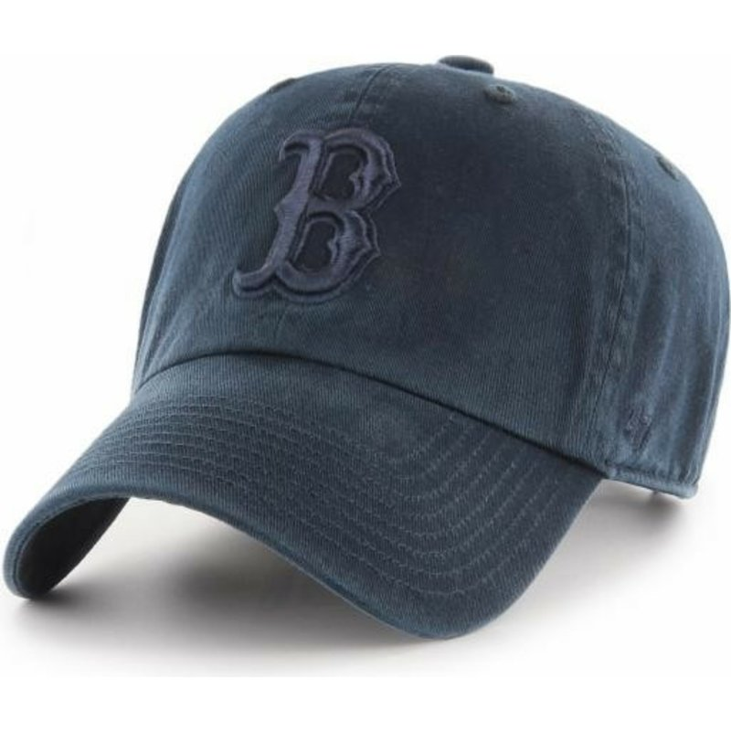 47-brand-curved-brim-navy-blue-logo-boston-red-sox-mlb-clean-up-navy-blue-cap