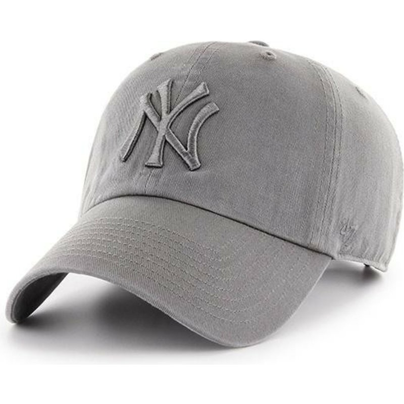 47-brand-curved-brim-grey-logo-new-york-yankees-mlb-clean-up-grey-cap