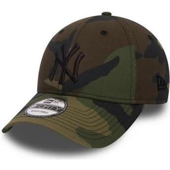 New Era Curved Brim Black Logo 9FORTY Essential New York Yankees MLB Camouflage Adjustable Cap