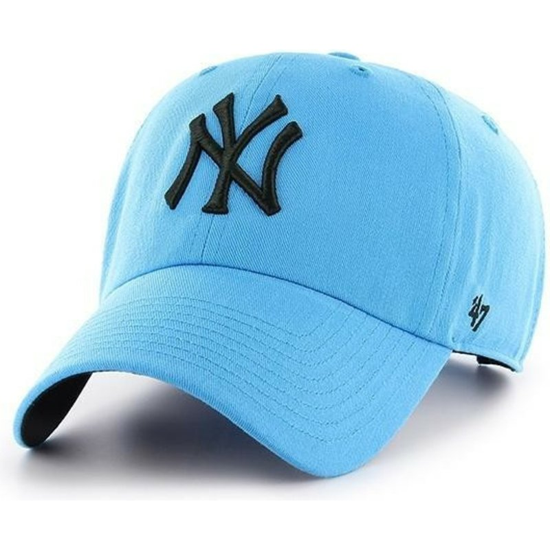 47-brand-curved-brim-new-york-yankees-mlb-clean-up-neon-blue-cap