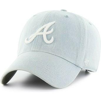 47 Brand Curved Brim Atlanta Braves MLB Clean Up Meadowood Light Blue Cap