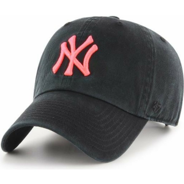 47-brand-curved-brim-pink-logo-new-york-yankees-mlb-clean-up-black-cap