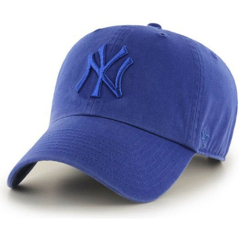 47-brand-curved-brim-shinyblue-logo-new-york-yankees-mlb-clean-up-blue-cap