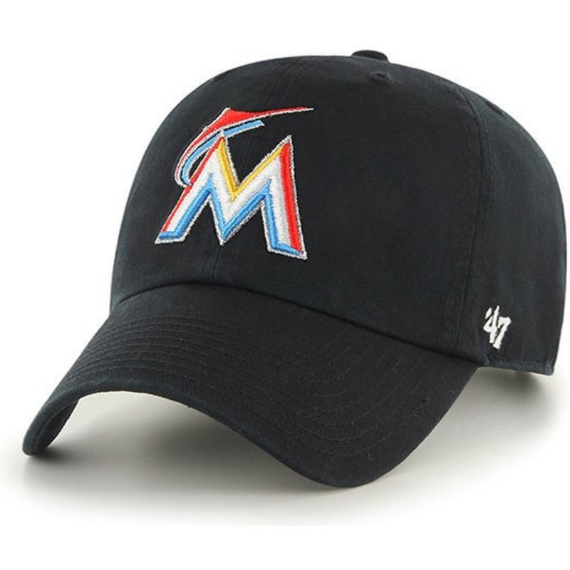 47-brand-curved-brim-miami-marlins-mlb-clean-up-black-cap