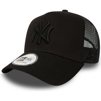 New Era Black Logo New York Yankees MLB Clean A Frame Black Trucker Hat