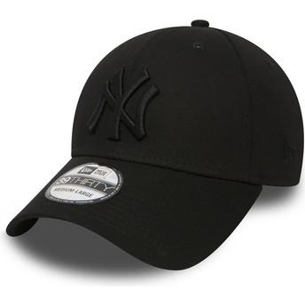 New Era Curved Brim Black Logo39THIRTY Classic New York Yankees MLB Black Fitted Cap