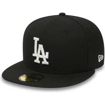 New Era Flat Brim 59FIFTY Essential Los Angeles Dodgers MLB Black Fitted Cap