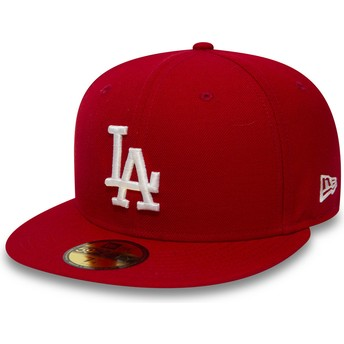 New Era Flat Brim 59FIFTY Essential Los Angeles Dodgers MLB Red Fitted Cap