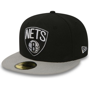 New Era Flat Brim 59FIFTY Essential Brooklyn Nets NBA Black Fitted Cap