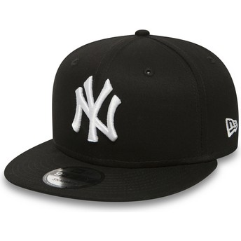 New Era Flat Brim 9FIFTY White on Black New York Yankees MLB Black Snapback Cap