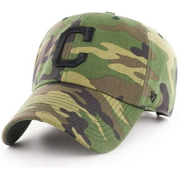 47-brand-curved-brim-black-logo-cleveland-indians-mlb-clean-up-unwashed-camouflage-cap