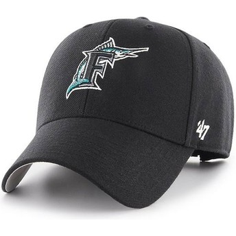 47 Brand Curved Brim Classic Logo Miami Marlins MLB MVP Cooperstown Black Adjustable Cap