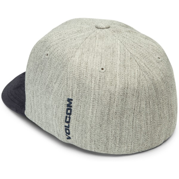 volcom-curved-brim-indigo-full-stone-hthr-xfit-grey-fitted-cap-with-navy-blue-visor