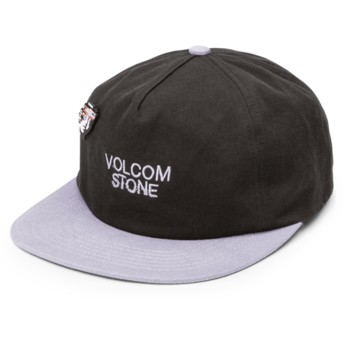 Volcom Flat Brim Black Noa Noise Black Adjustable Cap with Grey Visor