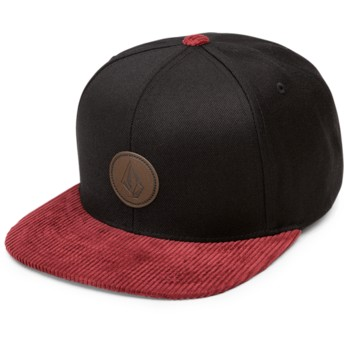Volcom Flat Brim Cabernet Quarter Fabric Black Snapback Cap with Red Visor