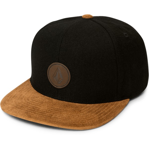 volcom-flat-brim-charred-quarter-fabric-black-snapback-cap-with-brown-visor