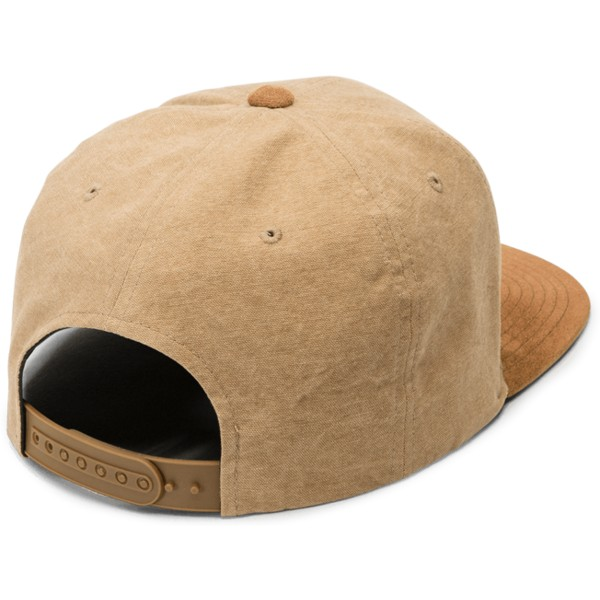 volcom-flat-brim-old-gold-quarter-fabric-yellow-snapback-cap-with-brown-visor
