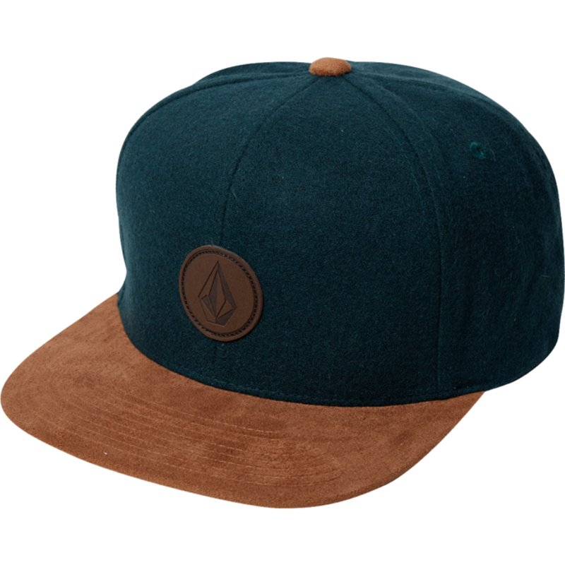 volcom-flat-brim-ranger-green-quarter-fabric-dark-green-snapback-cap-with-brown-visor
