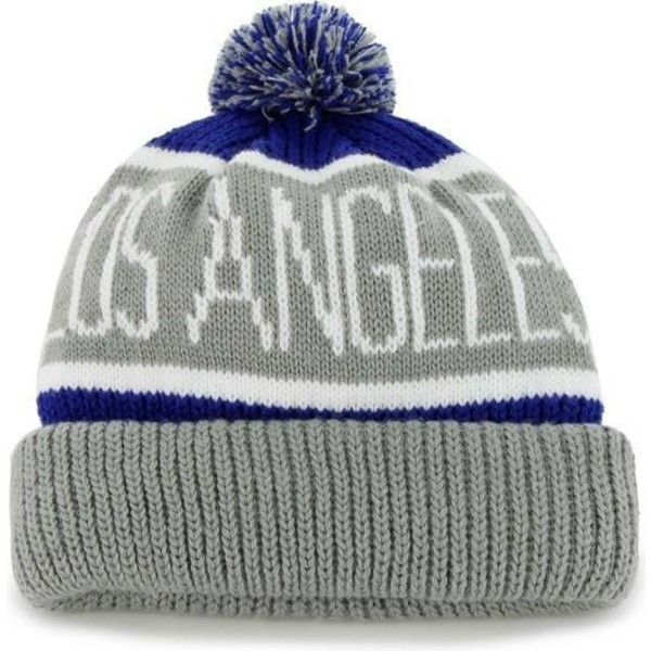 47-brand-los-angeles-dodgers-mlb-cuff-knit-calgary-grey-and-blue-beanie-with-pompom