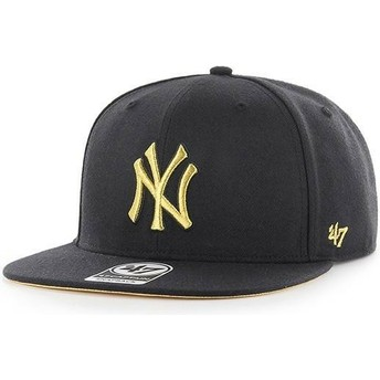47 Brand Flat Brim Gold Logo New York Yankees MLB Captain Metalivise Black Snapback Cap