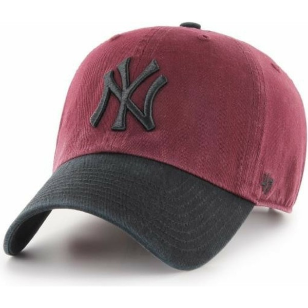 47-brand-curved-brim-black-logo-new-york-yankees-mlb-clean-up-two-tone-red-cap-with-black-visor