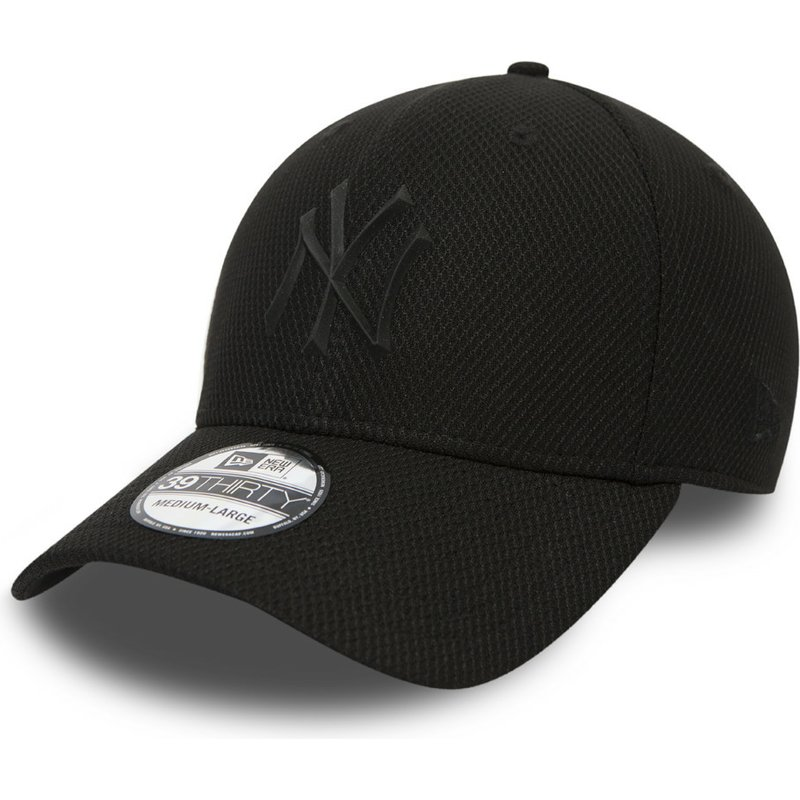 new-era-curved-brim-youth-black-logo-39thirty-rubber-prime-new-york-yankees-mlb-black-fitted-cap