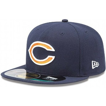 New Era Flat Brim 59FIFTY On Field Chicago Bears NFL Navy Blue Fitted Cap