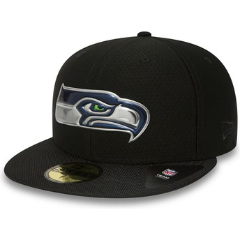 New Era Flat Brim 59FIFTY Black Coll Seattle Seahawks NFL Black Fitted Cap