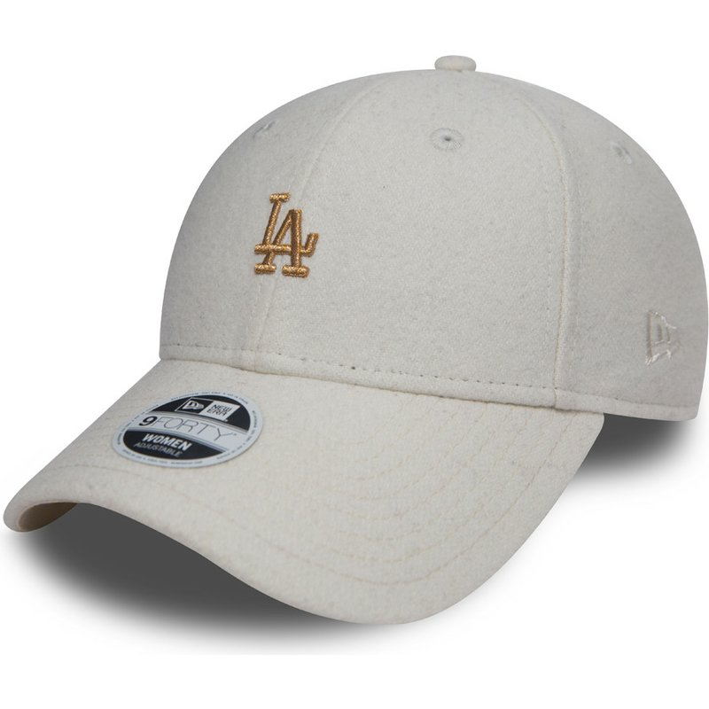 new-era-curved-brim-bronze-logo-9forty-melton-los-angeles-dodgers-mlb-white-adjustable-cap