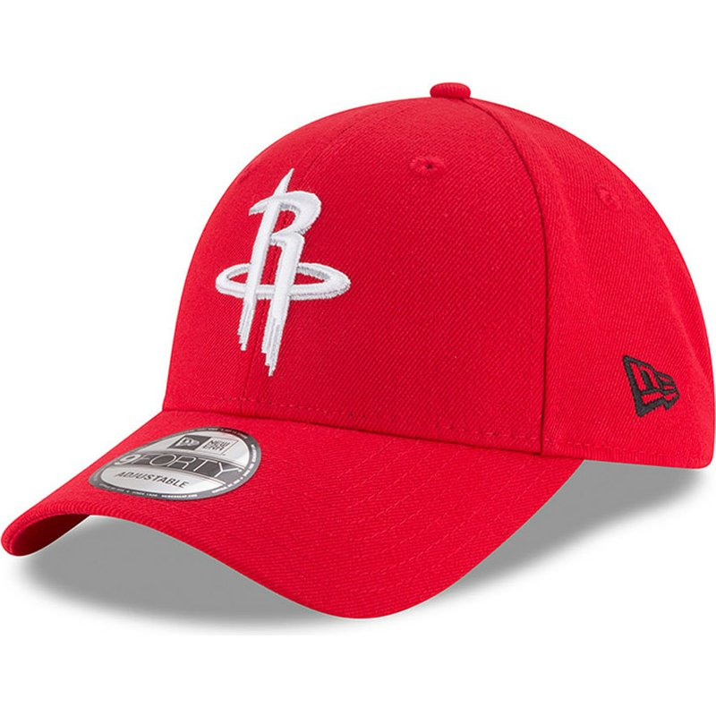 new-era-curved-brim-9forty-the-league-houston-rockets-nba-red-adjustable-cap