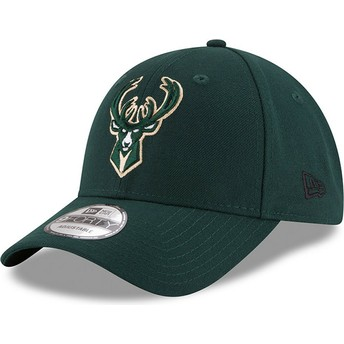 New Era Curved Brim 9FORTY The League Milwaukee Bucks NBA Green Adjustable Cap