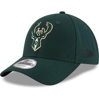 New Era Curved Brim 9FORTY The League Milwaukee Bucks NBA Green Adjustable Cap