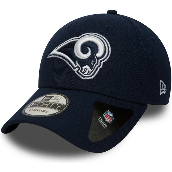 new-era-curved-brim-9forty-the-league-los-angeles-rams-nfl-navy-blue-adjustable-cap