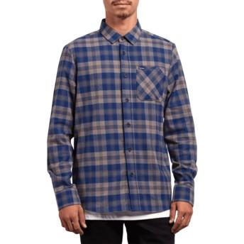 Volcom Matured Blue Caden Plaid Blue Long Sleeve Check Shirt
