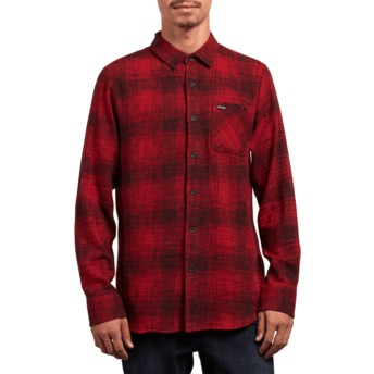 Volcom Engine Red Buffalo Glitch Red Long Sleeve Shirt