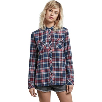 Volcom Vintage Navy Street Dreaming Navy Blue and Red Long Sleeve Check Shirt